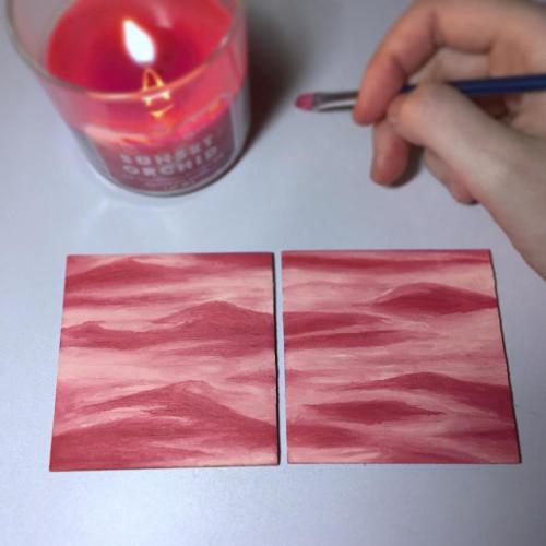 Pink water mini oil painting