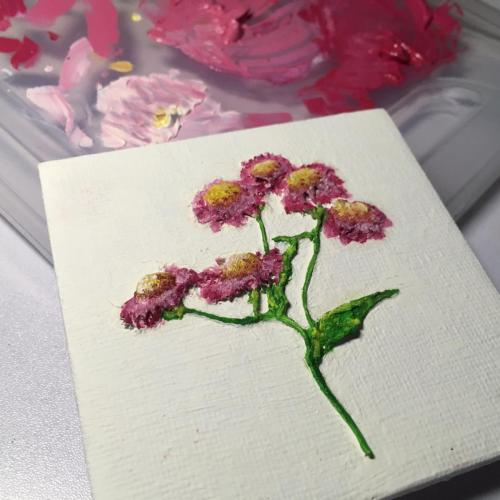 Pressed magenta flower oil painting