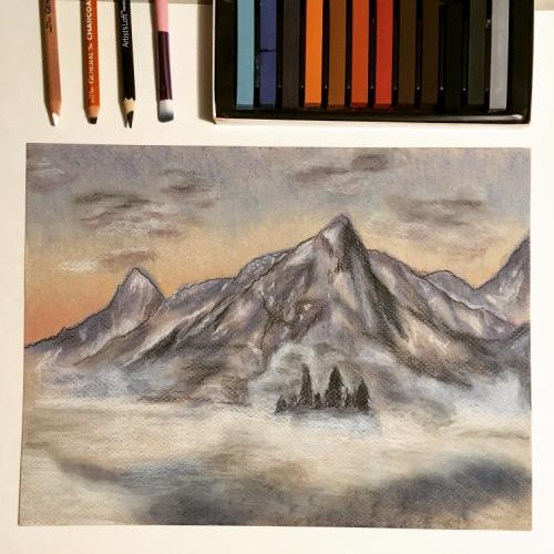 Pastel mountainscape