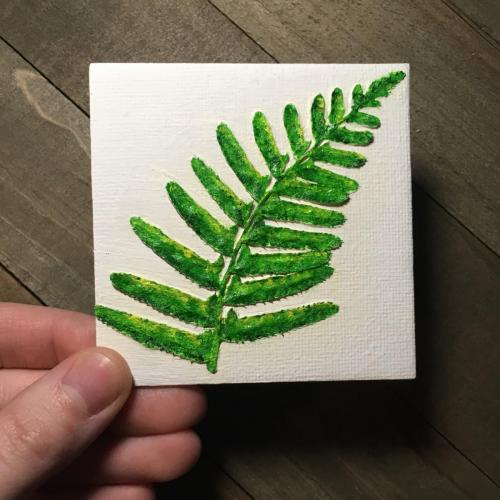 Pressed fern oil painting