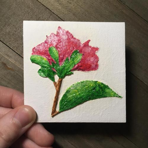 Pressed pink flower oil painting
