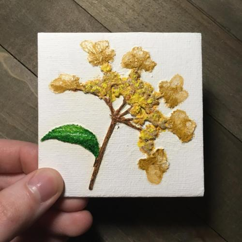 Pressed yellow flower oil painting