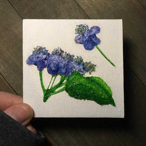 Pressed indigo flower oil painting