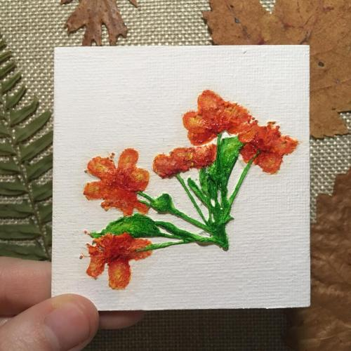 Pressed orange flower oil painting