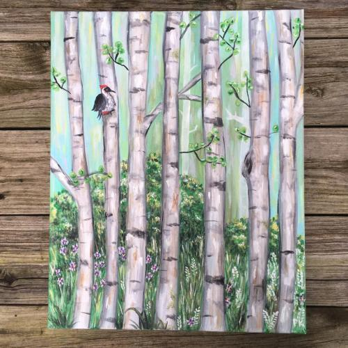 Birch forest acrylic painting