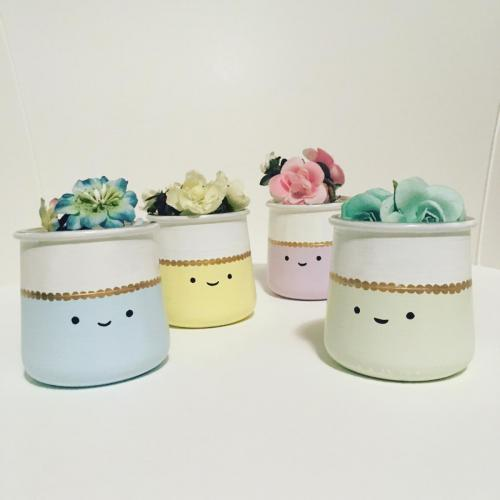 Kawaii mini painted pots